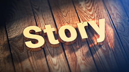 anecdote: Time to tell stories. The word Story is lined with gold letters on wooden planks. 3D illustration image