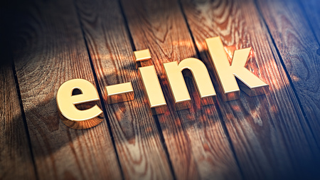 e ink: Books of 21st century. The word e-ink is lined with gold letters on wooden planks. 3D illustration picture