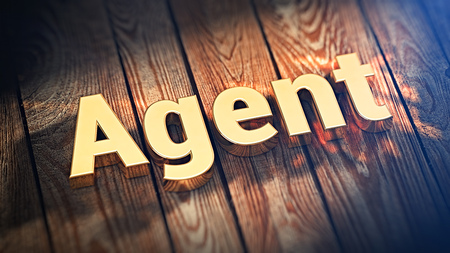 middleman: The word Agent is lined with gold letters on wooden planks. 3D illustration image Stock Photo