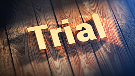 Trial software header. The word Trial is lined with gold letters on wooden planks. 3D illustration picture