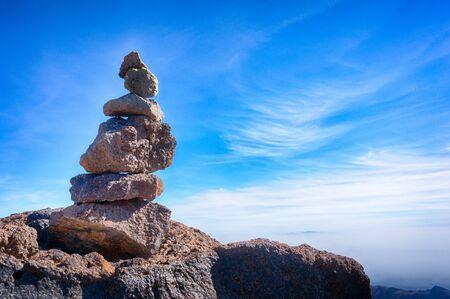 pyramid peak: Stack of volcanic rocks on top of Teide peak, Tenerife, Canary Islands Stock Photo