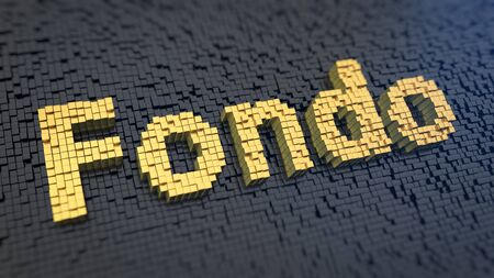 subsidize: Spanish word Fondo (which means Fund) of the yellow square pixels on a black matrix background. 3D illustration graphics