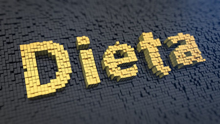dieta: Spanish word Dieta (which means Diet) of the yellow square pixels on a black matrix background. 3D illustration image