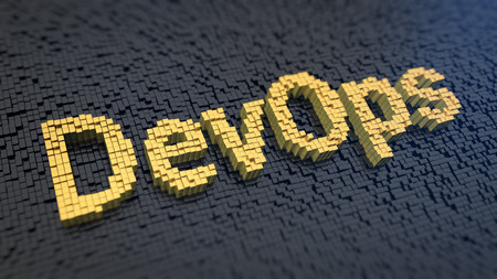 developers: Collaboration of both software developers and IT specialists. Acronym DevOps of the yellow square pixels on a black matrix background. 3D illustration picture Stock Photo