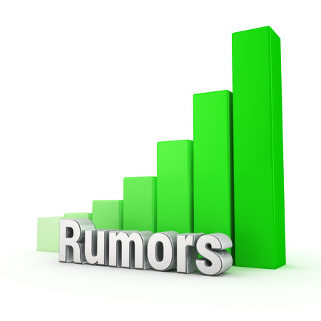 spread the word: Rumors spread with lightning speed. Word Rumors against the green rising graph. 3D illustration picture Stock Photo