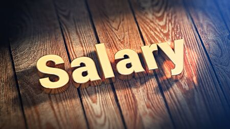 remuneraciones: The word Salary is lined with gold letters on wooden planks. 3D illustration picture Foto de archivo