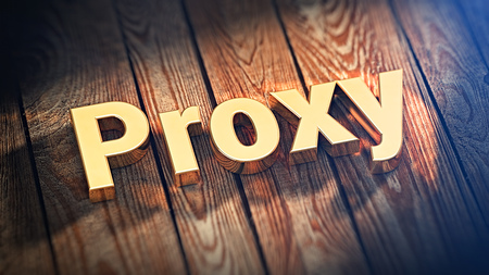 proxy: Proxy servers list header. The word Proxy is lined with gold letters on wooden planks. 3D illustration pic Stock Photo