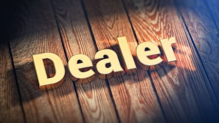 marketeer: Authorized business partner. The word Dealer is lined with gold letters on wooden planks. 3D illustration pic