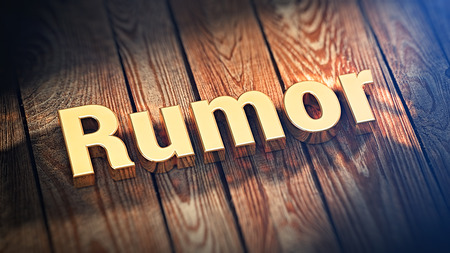 bruit: The word Rumor is lined with gold letters on wooden planks. 3D illustration image Stock Photo