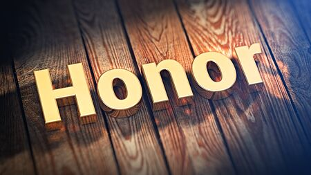 honour: The word Honor is lined with gold letters on wooden planks. 3D illustration picture Stock Photo