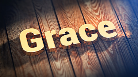 civility: The word Grace is lined with gold letters on wooden planks. 3D illustration pic