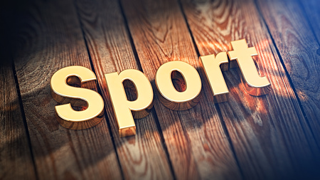 athletic type: The word Sport is lined with gold letters on wooden planks. 3D illustration pic