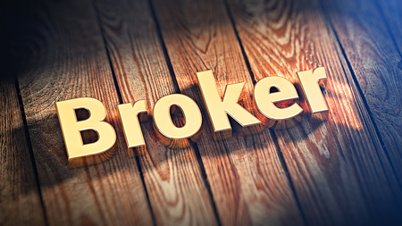 stockbroker: Stock market maker. The word Broker is lined with gold letters on wooden planks. 3D illustration image