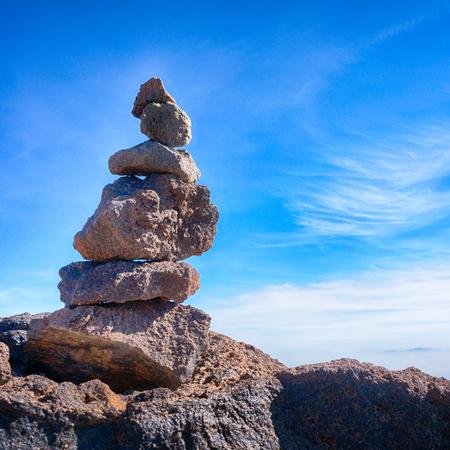 pyramid peak: Tower of volcanic rocks on top of Teide peak, Tenerife, Canary Islands