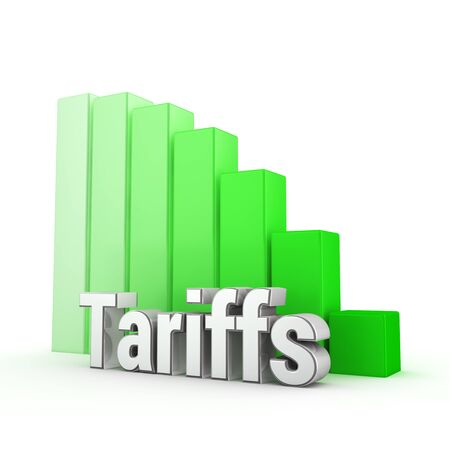 jpeg: Perfect low tariffs level. Word Tariffs against the green decreasing graph. 3D illustration jpeg