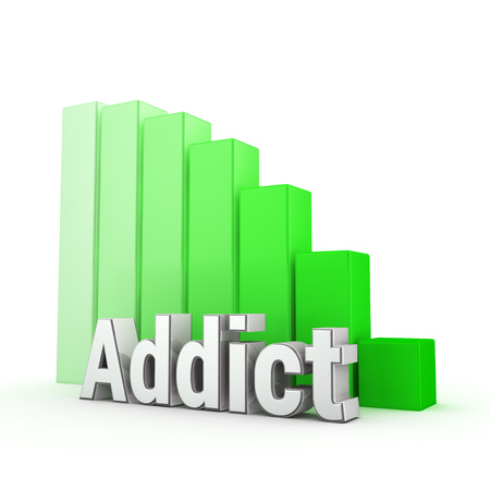 worshipper: Word Addict against the green decreasing graph. 3D illustration picture