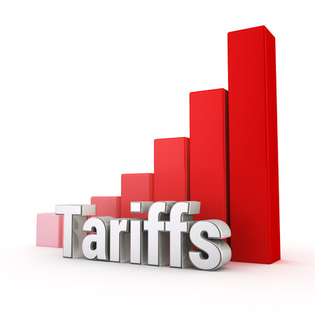 Tariffs level too high. Word Tariffs against the red rising graph. 3D illustration graphics Standard-Bild