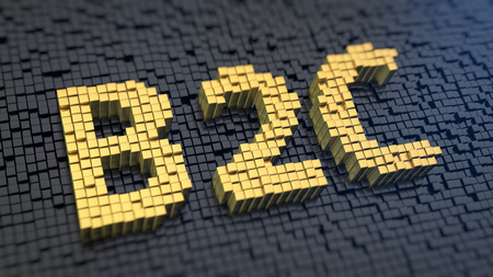 b2c: Business to customers. Classic retail. Acronym B2C of the yellow square pixels on a black matrix background. 3D illustration picture Stock Photo