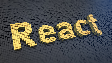 react: Programming web apps. Word React of the yellow square pixels on a black matrix background. 3D illustration image