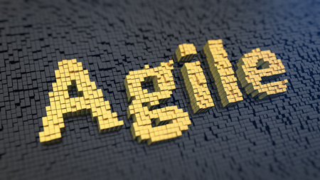 methodology: Agile methodology production. Word Agile of the yellow square pixels on a black matrix background. 3D illustration picture