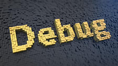 debug: Word Debug of the yellow square pixels on a black matrix background. 3D illustration jpeg Stock Photo