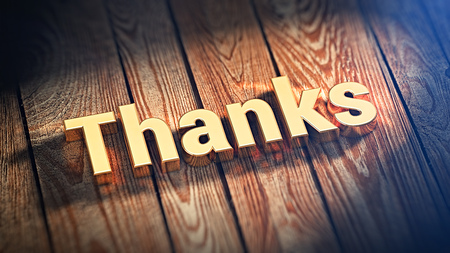 acknowledgment: The word Thanks is lined with gold letters on wooden planks. 3D illustration graphics Stock Photo