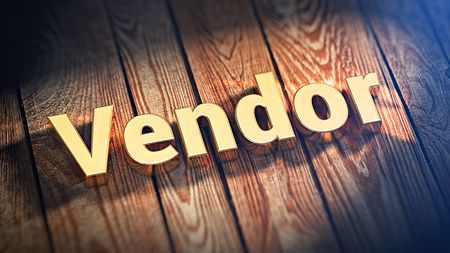 contributes: The word Vendor is lined with gold letters on wooden planks. 3D illustration graphics