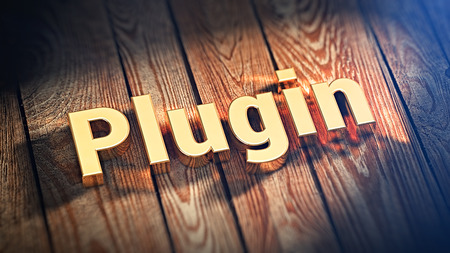 plugin: Write your plugin. The word Plugin is lined with gold letters on wooden planks. 3D illustration jpeg Stock Photo