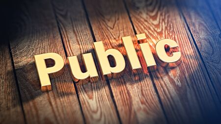 citizenry: The word Public is lined with gold letters on wooden planks. 3D illustration graphics Stock Photo