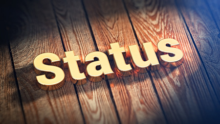 renown: Whats your status? The word Status is lined with gold letters on wooden planks. 3D illustration pic Stock Photo