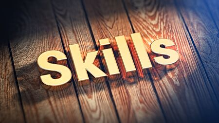 deftness: Get more knowledge. The word Skills is lined with gold letters on wooden planks. 3D illustration graphics