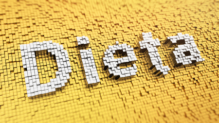 dieta: Pixelated Spanish word Dieta (which means Diet in Spanish) made from matrix mosaic cubes. 3D illustration jpeg Stock Photo