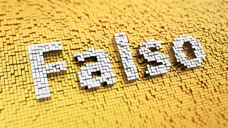 spurious: Nothing false is good. Pixelated Spanish word Falso (which means False in Spanish) made from matrix mosaic cubes. 3D illustration pic