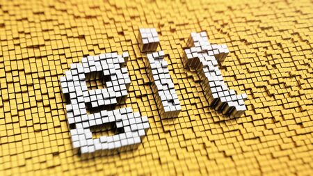git: Revision control system. Pixelated word Git made from matrix mosaic cubes. 3D illustration image Stock Photo