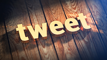 tweet: Tweet about everything. The word Tweet is lined with gold letters on wooden planks. 3D illustration graphics Stock Photo