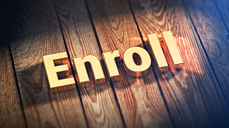 enroll: The word Enroll is lined with gold letters on wooden planks. 3D illustration jpeg
