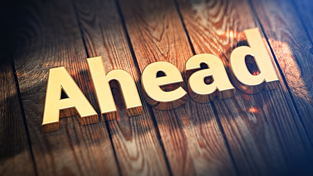 risks ahead: The word Ahead is lined with gold letters on wooden planks. 3D illustration jpeg Stock Photo