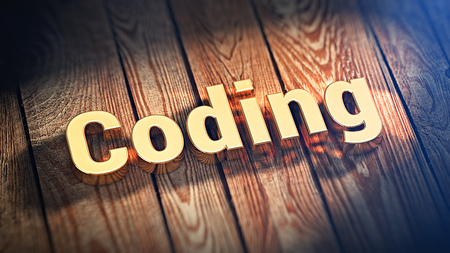 compiler: The word Coding is lined with gold letters on wooden planks. 3D illustration graphics