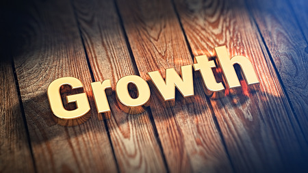 upgrowth: The word Growth is lined with gold letters on wooden planks. 3D illustration jpeg