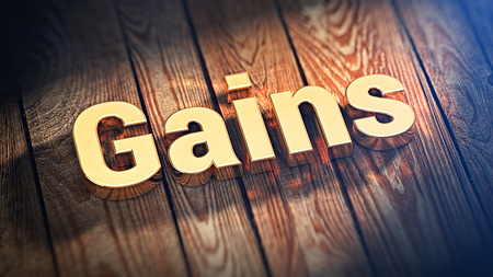 accession: The word Gains is lined with gold letters on wooden planks. 3D illustration pic