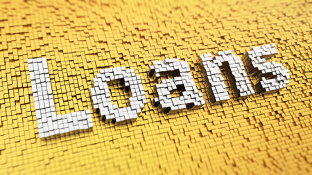loans: Microfinance concept, payday loans. Pixelated word Loans made from cubes, mosaic pattern. 3D illustration picture