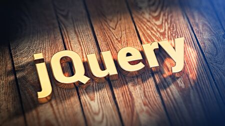 opensource: Popular web framework. The word jQuery is lined with gold letters on wooden planks. 3D illustration image