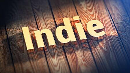 """Het woord """"Indie"""" is bekleed met gouden letters op houten planken. 3D illustratie jpeg"""