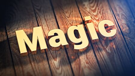 enchantment: The word Magic is lined with gold letters on wooden planks. 3D illustration graphics