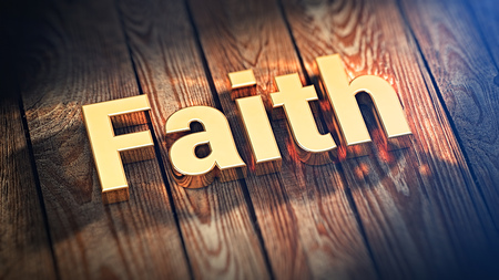 fidelidad: The word Faith is lined with gold letters on wooden planks. 3D illustration jpeg