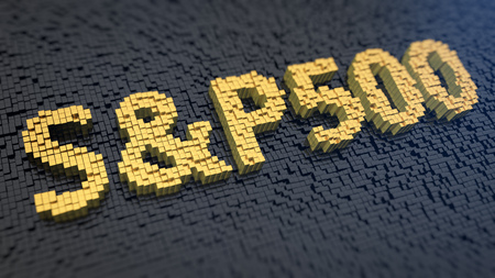 Stock market index. Word S&P500 of the yellow square pixels on a black matrix background. 3D illustration image