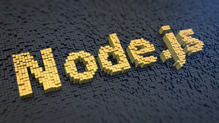 Open-source, cross-platform runtime environment. Node.js me, if you can. Word Node.js of the yellow square pixels on a black matrix background. 3D illustration picture