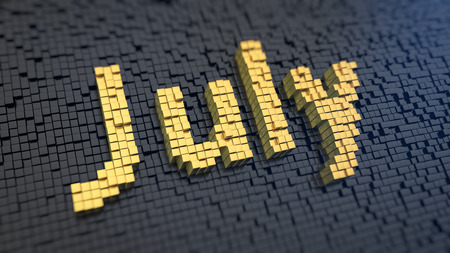 month 3d: Second summer month. Word July of the yellow square pixels on a black matrix background. 3D illustration image
