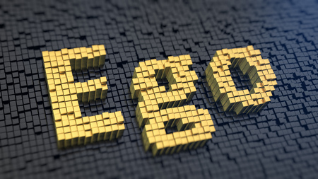 ego�sta: C�mo dejar de ser ego�sta? Palabra ego de los p�xeles cuadrados de color amarillo sobre un fondo negro de la matriz. 3D ilustraci�n jpeg
