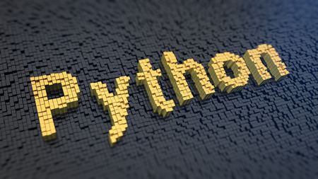 linguaggio di programmazione potente. Parola Python dei gialli pixel quadrati su una matrice sfondo nero. illustrazione immagine 3D